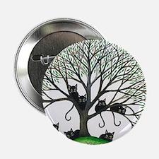 """Borders Black Cats in Tree by Lori Al 2.25"""" Button"""