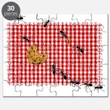Ant Picnic on Red Checkered Cloth Puzzle