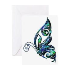 Abalone Shell Art Deco Butterfly Greeting Card