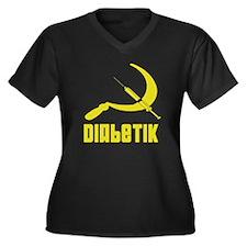 Diabetik Women's Plus Size V-Neck Dark T-Shirt