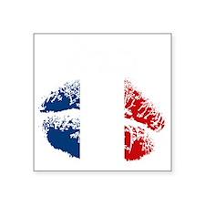 "Kiss Me. Im French Square Sticker 3"" x 3"""