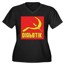 Diabetik w/red background Women's Plus Size V-Neck