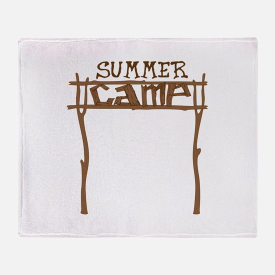Summer Camp Sign Throw Blanket