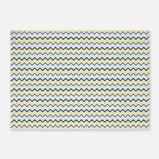 Blue, Yellow and White Chevron 5'x7'Area Rug