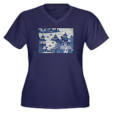 PORCELAIN CH Women's Plus Size V-Neck Dark T-Shirt