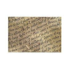 Poe Raven Text Pattern Rectangle Magnet