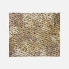 Poe Raven Text Pattern Throw Blanket