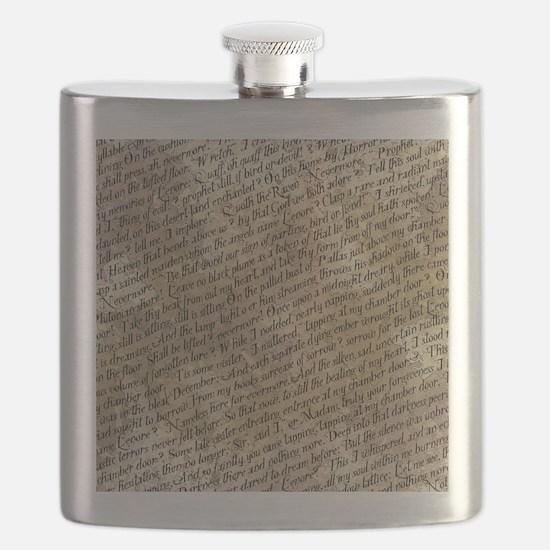 Poe Raven Text Pattern Flask