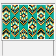 Native American Design Turquoise Yard Sign