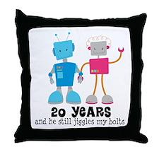 20 Year Anniversary Robot Couple Throw Pillow