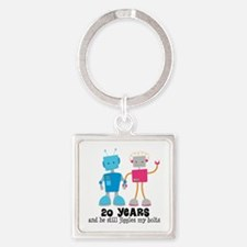 20 Year Anniversary Robot Couple Square Keychain