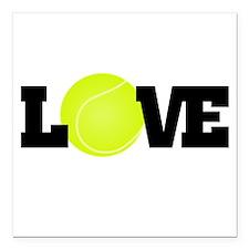 "Tennis Love Square Car Magnet 3"" x 3"""