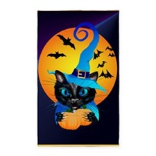Blue Witch Kitty -Harvest Moon 3'x5' Area Rug