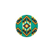 Native American Design Turquoise Mini Button