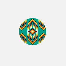 Native American Design Turquoise Mini Button