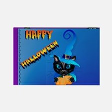Yard Sign-Blue Witch Kitty-Happy  Rectangle Magnet