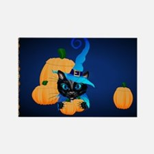 Yard Sign-Blue Witch Kitty Rectangle Magnet