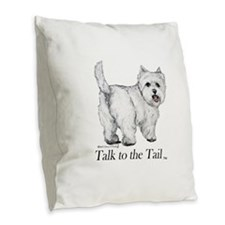 Westie Attitude Burlap Throw Pillow
