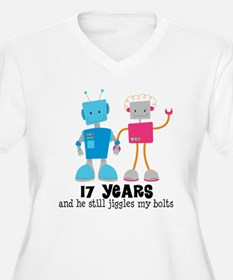 17 Year Anniversary Robot Couple T-Shirt