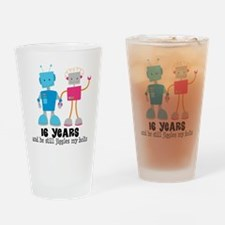 16 Year Anniversary Robot Couple Drinking Glass