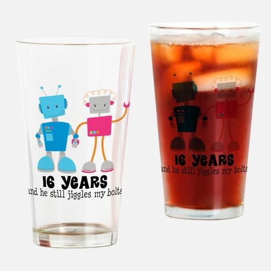 16 Year Anniversary Robot Couple Drinking Glass