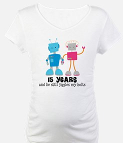 15 Year Anniversary Robot Couple Shirt