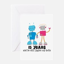 15 Year Anniversary Robot Couple Greeting Card