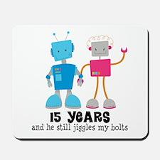 15 Year Anniversary Robot Couple Mousepad