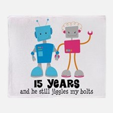 15 Year Anniversary Robot Couple Throw Blanket