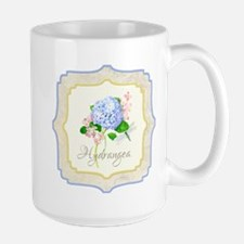 Blue Hydrangea Dragonfly Shabby Chic Floral Mugs