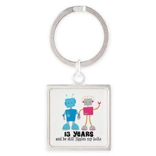 13 Year Anniversary Robot Couple Square Keychain