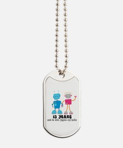 13 Year Anniversary Robot Couple Dog Tags
