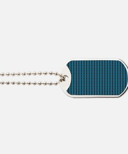 Teal Tartan Pattern Dog Tags
