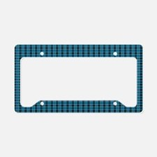 Teal Tartan Pattern License Plate Holder