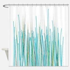 Blue-Green Halftone Chaos Shower Curtain