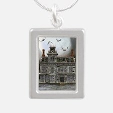 Halloween House Silver Portrait Necklace