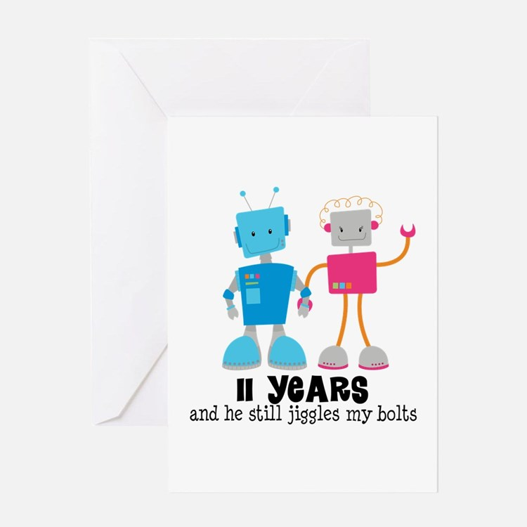 11 Year Anniversary Robot Couple Greeting Card