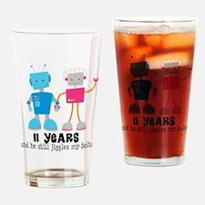 11 Year Anniversary Robot Couple Drinking Glass