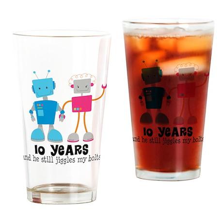 10 Year Anniversary Robot Couple Drinking Glass