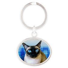Siamese Cat Oval Keychain