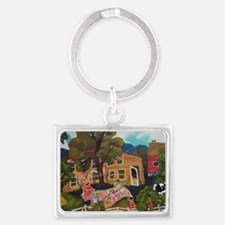 African American Quilting Landscape Keychain