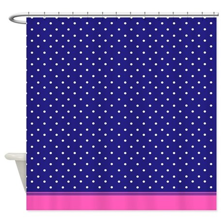 Blue And White Dots With Pink Trim Shower Curtain By InspirationzStore