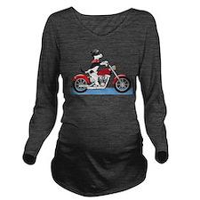 Dog Motorcycle Long Sleeve Maternity T-Shirt