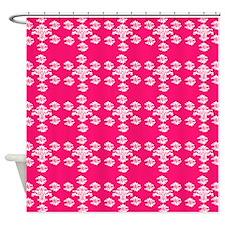 white damask pattern on hot pink 01 Shower Curtain