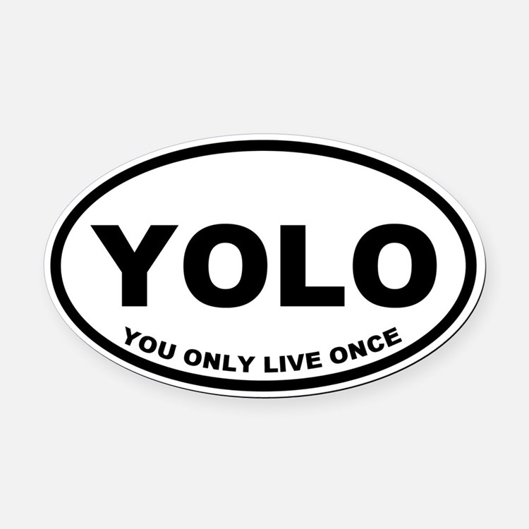 YOLO You Only Live Once Oval Car Magnet