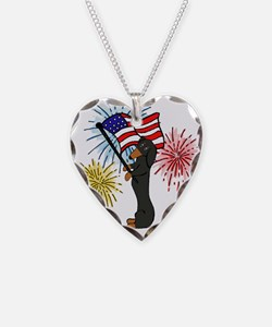 Dachshund Patriotic Black and Tan Necklace