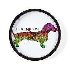 Dachshund - Crazy Love Wall Clock