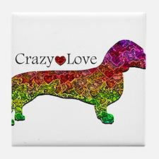 Dachshund - Crazy Love Tile Coaster
