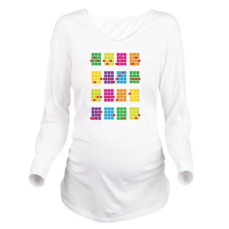 Uke Chords Colourful Long Sleeve Maternity T-Shirt