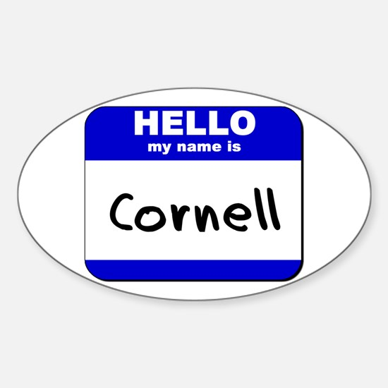 hello my name is cornell Oval Decal